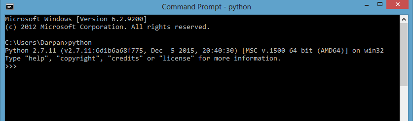 2 - Type command python in Windows command prompt - AndroidViewClient Tutorial