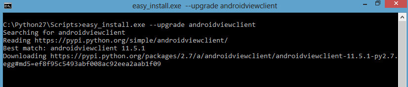 5 - easy_install.exe --upgrade androidviewclient - AndroidViewClient Tutorial