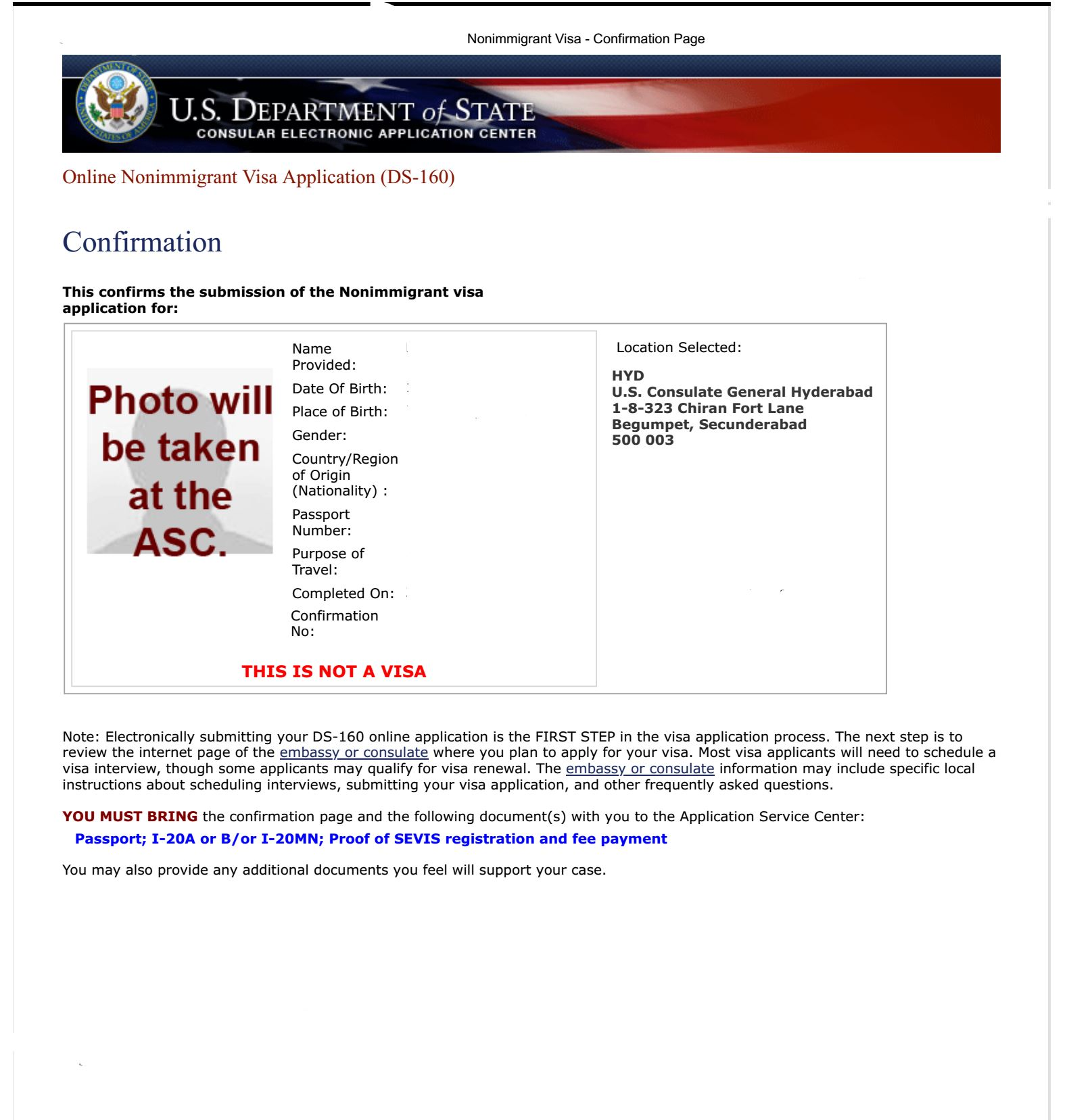 Redacted Completed DS160 Confirmation Page